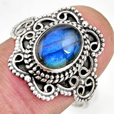 3.01cts natural blue labradorite 925 silver solitaire ring size 8.5 r26977