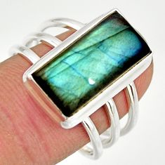 6.32cts natural blue labradorite 925 silver solitaire ring size 8.5 r27125