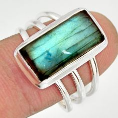 6.48cts natural blue labradorite 925 silver solitaire ring size 8.5 r27136