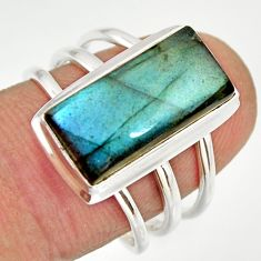 6.83cts natural blue labradorite 925 silver solitaire ring size 7.5 r27137