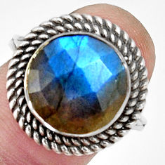 6.55cts natural blue labradorite 925 silver solitaire ring size 6.5 r33387