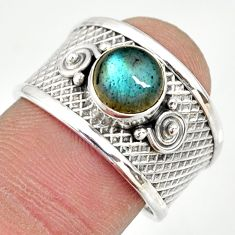 2.24cts natural blue labradorite 925 silver solitaire ring size 7.5 r34680