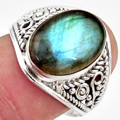 6.38cts natural blue labradorite 925 silver solitaire ring size 8.5 r35333
