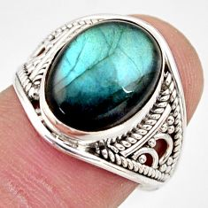 6.03cts natural blue labradorite 925 silver solitaire ring size 7.5 r35355