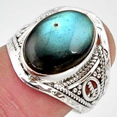 6.04cts natural blue labradorite 925 silver solitaire ring size 7.5 r35376