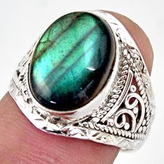 6.72cts natural blue labradorite 925 silver solitaire ring size 7.5 r35396