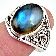 6.39cts natural blue labradorite 925 silver solitaire ring size 8.5 r35411