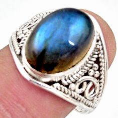 6.72cts natural blue labradorite 925 silver solitaire ring size 8.5 r35412