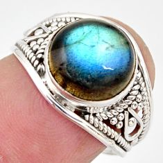 5.26cts natural blue labradorite 925 silver solitaire ring size 6.5 r35435