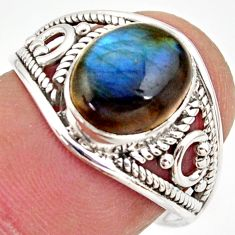 4.23cts natural blue labradorite 925 silver solitaire ring size 7.5 r35454