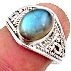 4.28cts natural blue labradorite 925 silver solitaire ring size 7.5 r35495