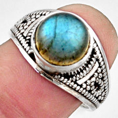 4.69cts natural blue labradorite 925 silver solitaire ring size 6.5 r40977