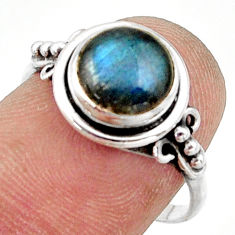 3.03cts natural blue labradorite 925 silver solitaire ring size 7.5 r41376