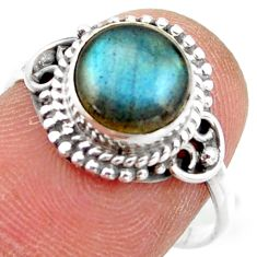 2.92cts natural blue labradorite 925 silver solitaire ring size 7.5 r41416