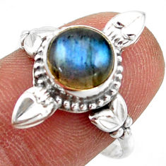 2.90cts natural blue labradorite 925 silver solitaire ring size 8.5 r41435