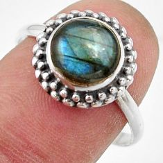 3.09cts natural blue labradorite 925 silver solitaire ring size 8.5 r41548