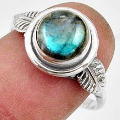 2.98cts natural blue labradorite 925 silver solitaire ring size 8.5 r41553