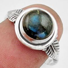 3.00cts natural blue labradorite 925 silver solitaire ring size 7.5 r41554