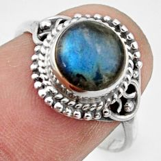 3.18cts natural blue labradorite 925 silver solitaire ring size 7.5 r41591