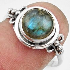 3.06cts natural blue labradorite 925 silver solitaire ring size 7.5 r41592