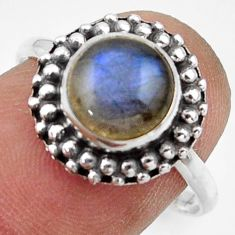 3.05cts natural blue labradorite 925 silver solitaire ring size 8.5 r41594