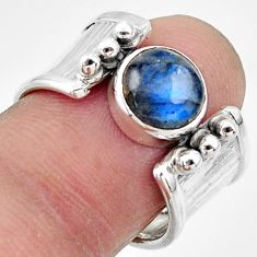 3.29cts natural blue labradorite 925 silver solitaire ring size 7.5 r49827