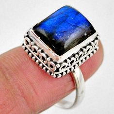 5.01cts natural blue labradorite 925 silver solitaire ring size 7.5 r53715