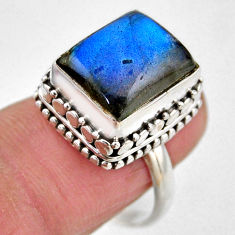 4.82cts natural blue labradorite 925 silver solitaire ring size 7.5 r53718