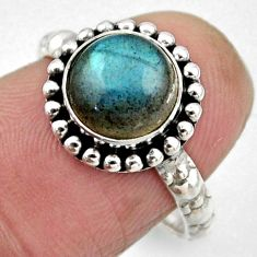 3.29cts natural blue labradorite 925 silver solitaire ring size 6.5 r54277