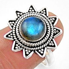3.38cts natural blue labradorite 925 silver solitaire ring size 7.5 r54313