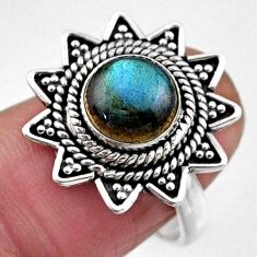 3.41cts natural blue labradorite 925 silver solitaire ring size 6.5 r54331