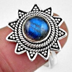 3.42cts natural blue labradorite 925 silver solitaire ring size 6.5 r54332