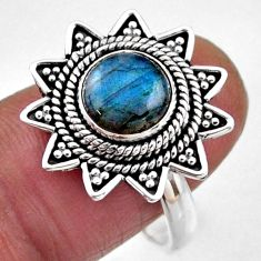 3.01cts natural blue labradorite 925 silver solitaire ring size 8.5 r54334