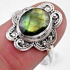 4.06cts natural blue labradorite 925 silver solitaire ring size 8.5 r54497