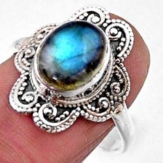 4.07cts natural blue labradorite 925 silver solitaire ring size 8.5 r54498