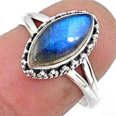 2.42cts natural blue labradorite 925 silver solitaire ring size 6.5 r57394