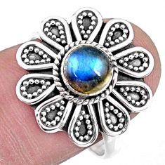 1.21cts natural blue labradorite 925 silver solitaire ring size 8.5 r57437