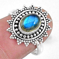 2.08cts natural blue labradorite 925 silver solitaire ring size 7.5 r57453