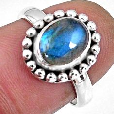 3.26cts natural blue labradorite 925 silver solitaire ring size 6.5 r57918