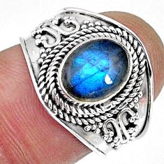 3.11cts natural blue labradorite 925 silver solitaire ring size 7.5 r57956