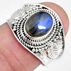 3.11cts natural blue labradorite 925 silver solitaire ring size 7.5 r58327