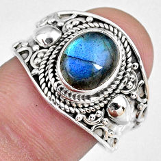 3.19cts natural blue labradorite 925 silver solitaire ring size 8.5 r58330