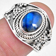 3.26cts natural blue labradorite 925 silver solitaire ring size 8.5 r58337