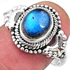 3.18cts natural blue labradorite 925 silver solitaire ring size 8.5 r64968