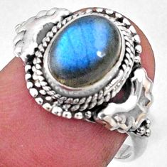 3.21cts natural blue labradorite 925 silver solitaire ring size 7.5 r64969