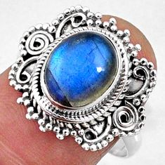 4.17cts natural blue labradorite 925 silver solitaire ring size 8.5 r65162