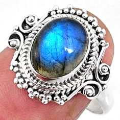 3.98cts natural blue labradorite 925 silver solitaire ring size 8.5 r65167
