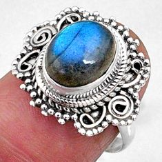 4.12cts natural blue labradorite 925 silver solitaire ring size 6.5 r65173