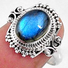 4.05cts natural blue labradorite 925 silver solitaire ring size 8.5 r65178