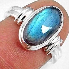 4.42cts natural blue labradorite 925 silver solitaire ring size 6.5 r66343